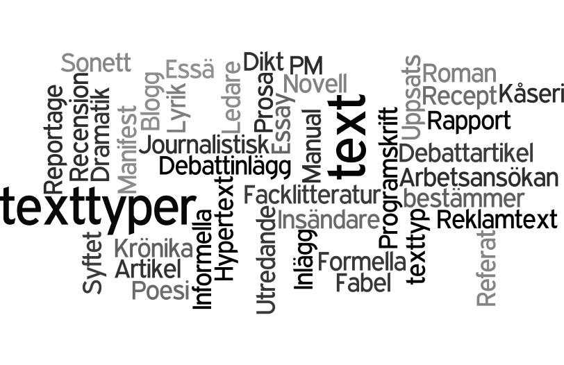 Bildresultat för texttyper ordmoln